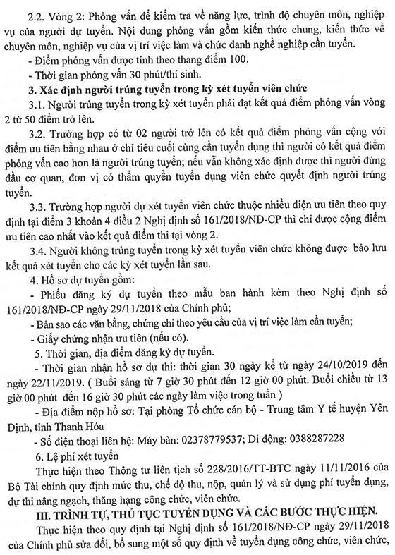Trung tâm Y tế huyện Yên Định, Thanh Hóa tuyển dụng viên chức năm 2019