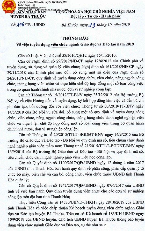 UBND huyện Bá Thước, Thanh Hóa tuyển dụng viên chức giáo dục năm 2019