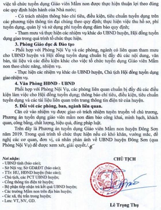 UBND huyện Đông Sơn, Thanh Hóa tuyển dụng giáo viên mầm non năm 2019