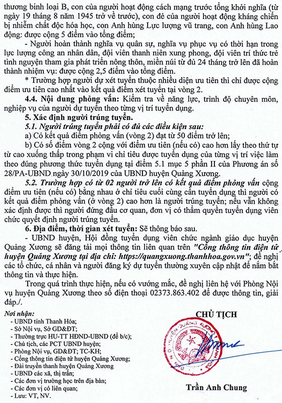 UBND huyện Quảng Xương, Thanh Hóa tuyển dụng viên chức giáo dục năm 2019
