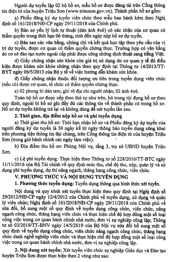 UBND huyện Triệu Sơn, Thanh Hóa tuyển dụng viên chức giáo dục năm 2019