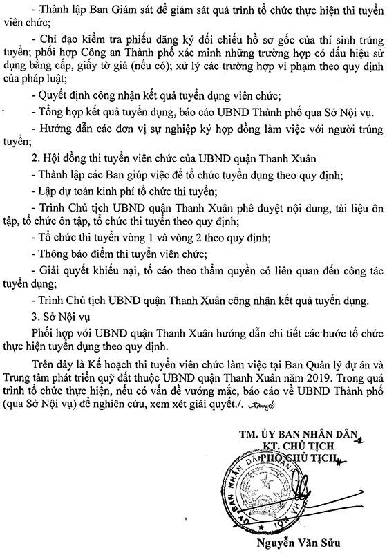 UBND quận Thanh Xuân, Hà Nội tuyển dụng viên chức năm 2019