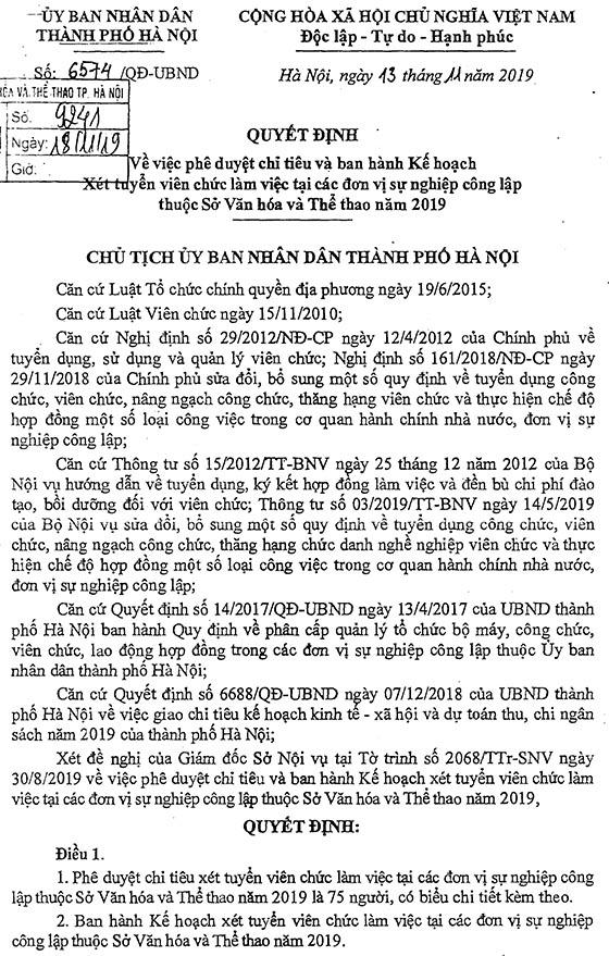 Sở Văn Hóa và Thể thao TP. Hà Nội tuyển dụng viên chức năm 2019