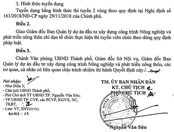 Ban Quản lý dự án đầu tư xây dựng công trình NN&PTNT, Hà Nội tuyển dụng viên chức năm 2019