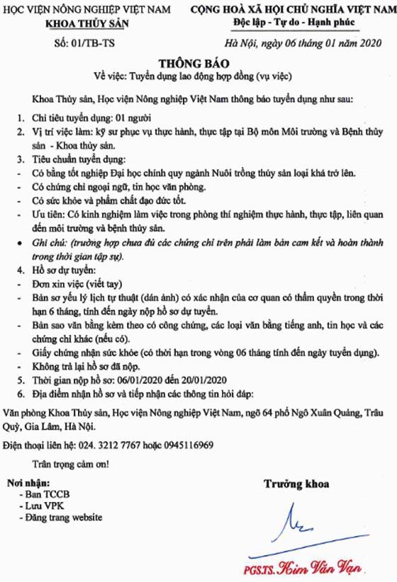 Khoa Thủy Sản - Học viện Nông nghiệp Việt Nam tuyển dụng lao động hợp đồng năm 2020