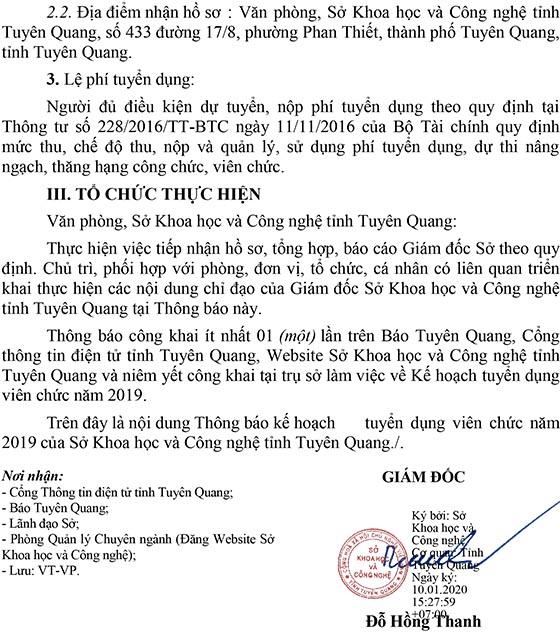 Sở Khoa học và Công nghệ tỉnh Tuyên Quang tuyển dụng viên chức năm 2019