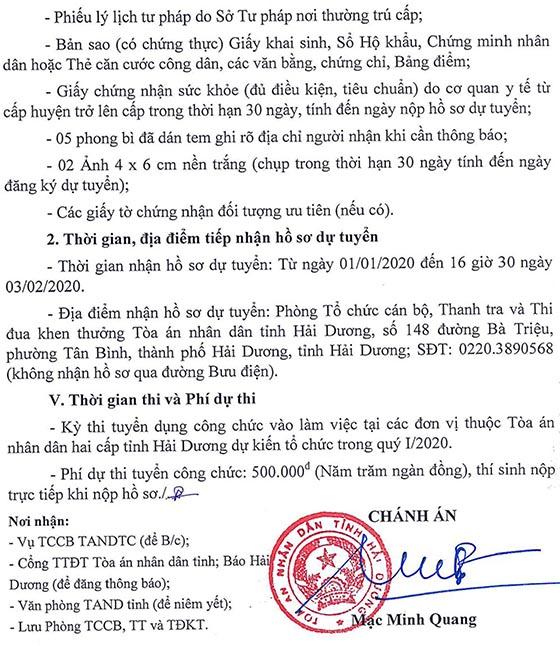 Tòa án nhân dân tỉnh Hải Dương tuyển dụng công chức năm 2019