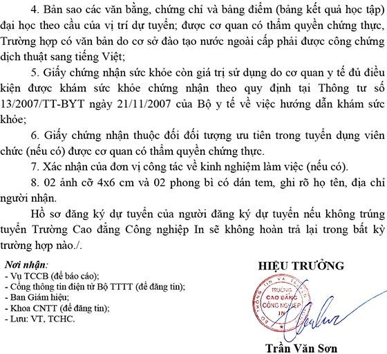 Trường Cao đẳng Công nghiệp In, Hà Nội tuyển dụng viên chức năm 2020