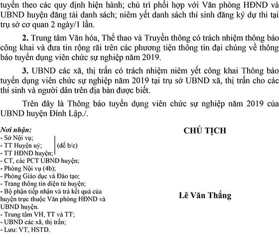 UBND huyện Đình Lập, Lạng Sơn tuyển dụng viên chức năm 2019