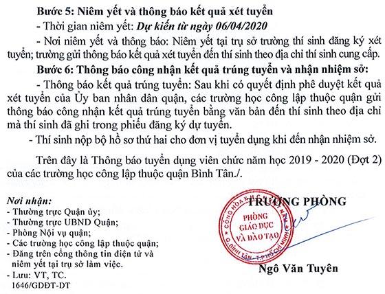 UBND quận Bình Tân, TP. HCM tuyển dụng viên chức năm học 2019-2020 (Đợt 2)