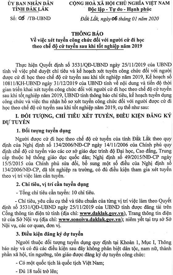 UBND Tỉnh Đăk Lăk tuyển dụng công chức năm 2019