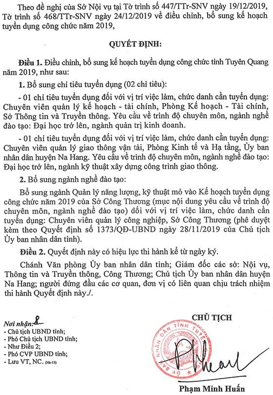 UBND tỉnh Tuyên Quang điều chỉnh, bổ sung kế hoạch tuyển dụng công chức năm 2019
