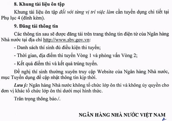 Ngân hàng Nhà nước Việt Nam gia hạn thời gian tuyển dụng công chức loại C vào làm việc tại Chi nhánh tỉnh, thành phố