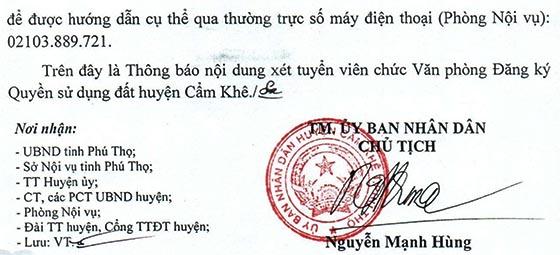 UBND huyện Cẩm Khê, Phú Thọ tuyển dụng viên chức năm 2020