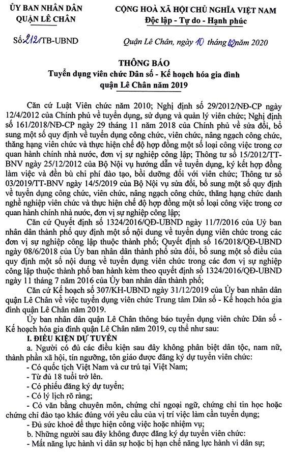 UBND quận Lê Chân, TP. Hải Phòng tuyển dụng viên chức năm 2020
