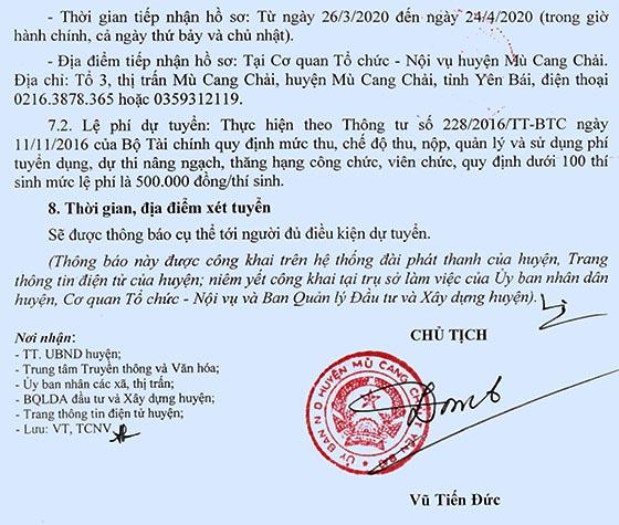 Ban Quản lý Dự án Đầu tư và Xây dựng huyện Mù Cang Chải, Yên Bái tuyển dụng viên chức năm 2020