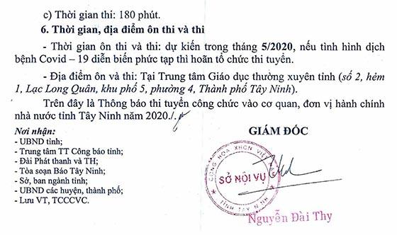 Sở Nội vụ tỉnh Tây Ninh tuyển dụng công chức khối các cơ quan hành chính Nhà nước năm 2020