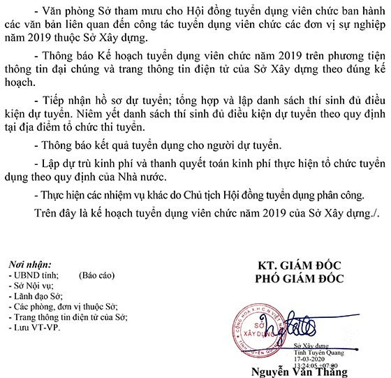 Sở Xây dựng tỉnh Tuyên Quang tuyển dụng viên chức năm 2019