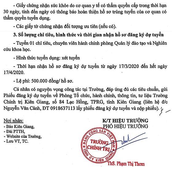 Trường Chính trị tỉnh Kiên Giang tuyển dụng viên chức năm 2020