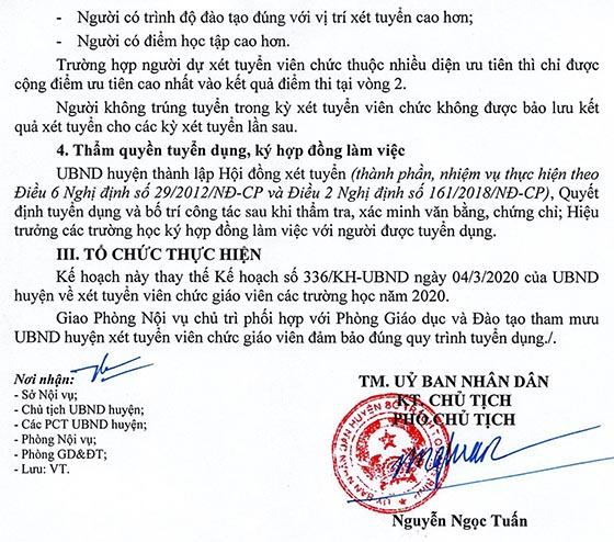 UBND huyện Bố Trạch, Quảng Bình tuyển dụng giáo viên năm 2020