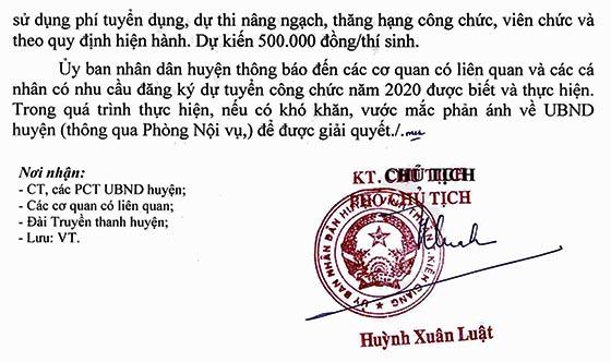 UBND huyện Vĩnh Thuận, Kiên Giang tiếp nhận hồ sơ dự tuyển công chức năm 2020