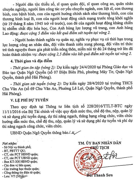UBND quận Ngô Quyền, TP.Hải Phòng tuyển dụng viên chức giáo viên năm 2020