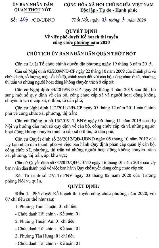 UBND quận Thốt Nốt, Cần Thơ tuyển dụng công chức phường năm 2020