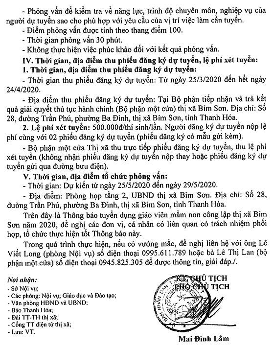 UBND TX.Bỉm Sơn, Thanh Hóa tuyển dụng giáo viên mầm non năm 2020