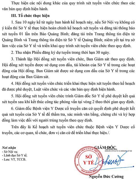 Bệnh viện Y Dược cổ truyền tỉnh Quảng Bình tuyển dụng viên chức năm 2020