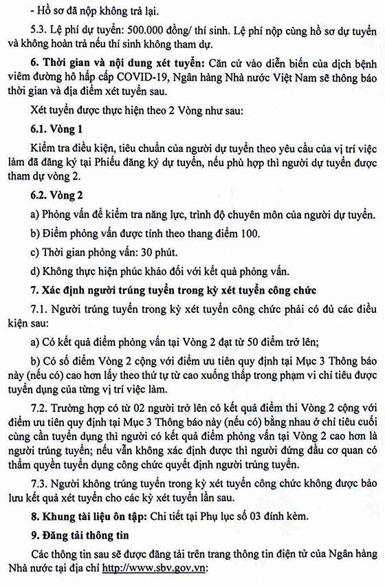 Ngân hàng Nhà nước Việt Nam tuyển dụng công chức loại C năm 2020