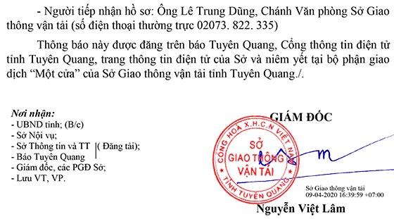 Sở Giao thông vận tải tỉnh Tuyên Quang tiếp nhận công chức năm 2020