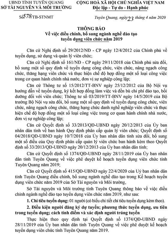 Sở Tài nguyên và Môi trường tỉnh Tuyên Quang tuyển dụng viên chức năm 2019