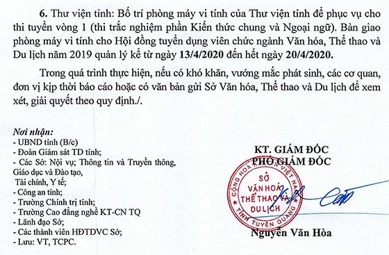 Sở Văn hóa, Thể thao và Du lịch tỉnh Tuyên Quang thi tuyển viên chức năm 2020