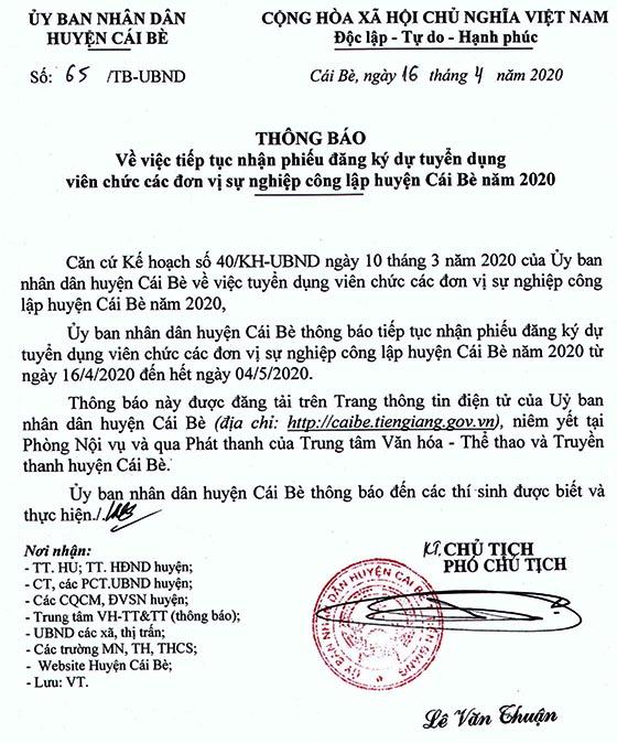 UBND huyện Cái Bè, Tiền Giang tiếp tục nhận phiếu đăng ký dự tuyển viên chức sự nghiệp công lập năm 2020