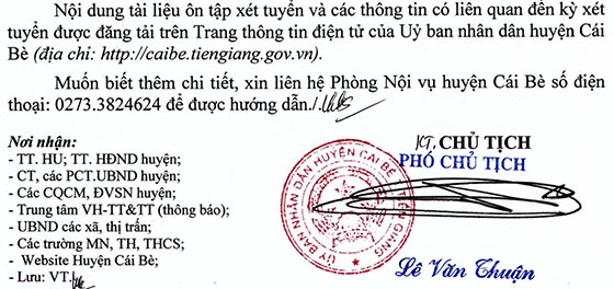 UBND huyện Cái Bè, Tiền Giang tuyển dụng viên chức sự nghiệp công lập năm 2020