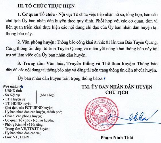 UBND huyện Yên Sơn, Tuyên Quang tiếp nhận viên chức năm 2020