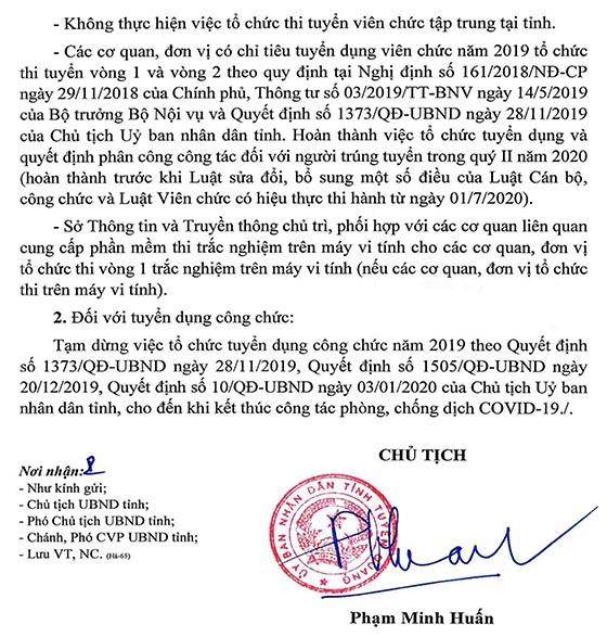 UBND tỉnh Tuyên Quang tạm dừng tổ chức tuyển dụng công chức năm 2019