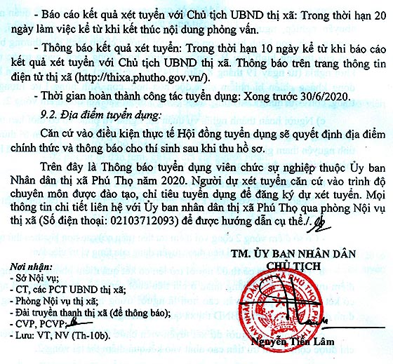 UBND TX. Phú Thọ, Phú Thọ tuyển dụng viên chức sự nghiệp năm 2020