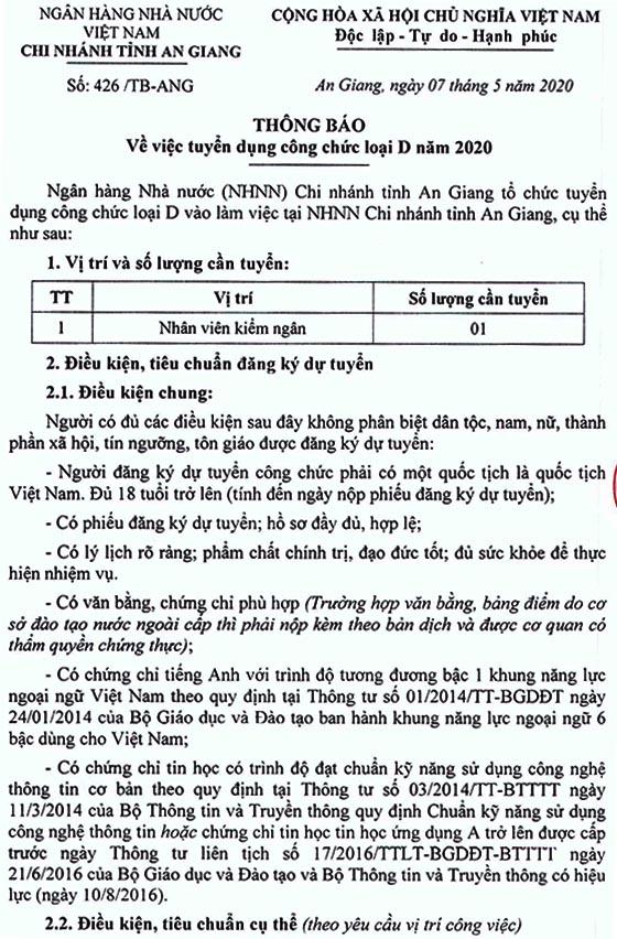 Ngân hàng Nhà nước chi nhánh tỉnh An Giang tuyển dụng công chức loại D năm 2020