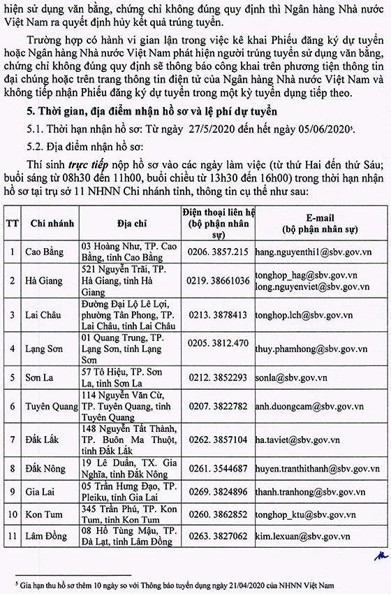 Ngân hàng Nhà nước Việt Nam gia hạn thời gian thu hồ sơ kỳ tuyển dụng công chức loại C năm 2019 - 2020