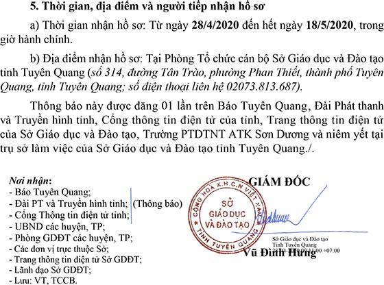 Sở Giáo dục và Đào tạo tỉnh Tuyên Quang thi tuyển chức danh Hiệu trưởng năm 2020