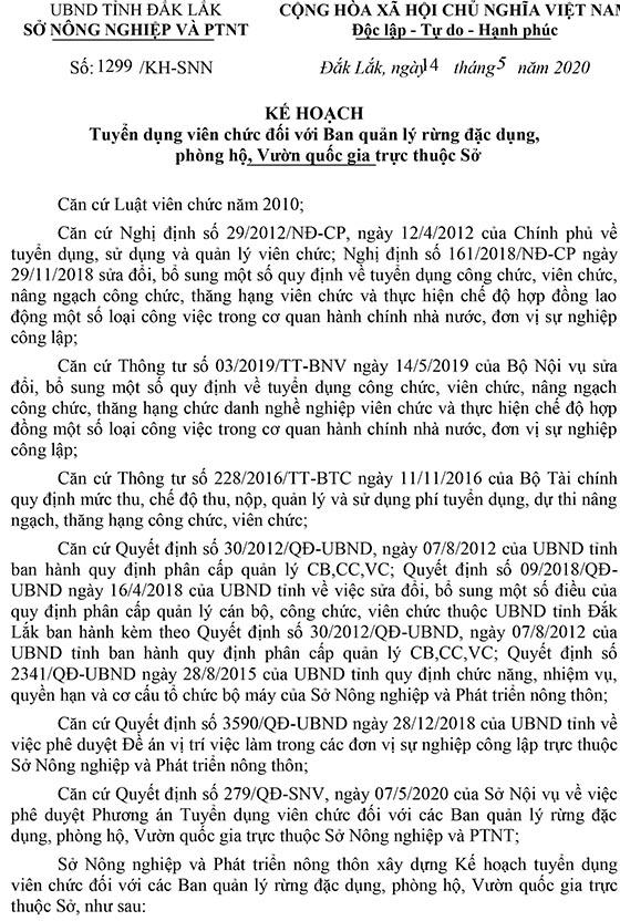 Sở Nông nghiệp và Phát triển nông thôn tỉnh Đắk Lắk tuyển dụng viên chức năm 2020