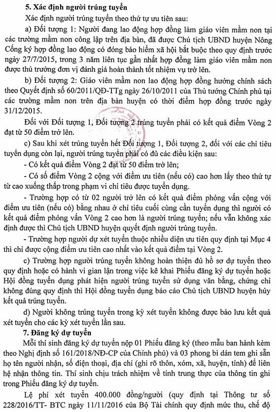 UBND huyện Nông Cống, Thanh Hóa thông báo tuyển dụng giáo viên mầm non năm 2020
