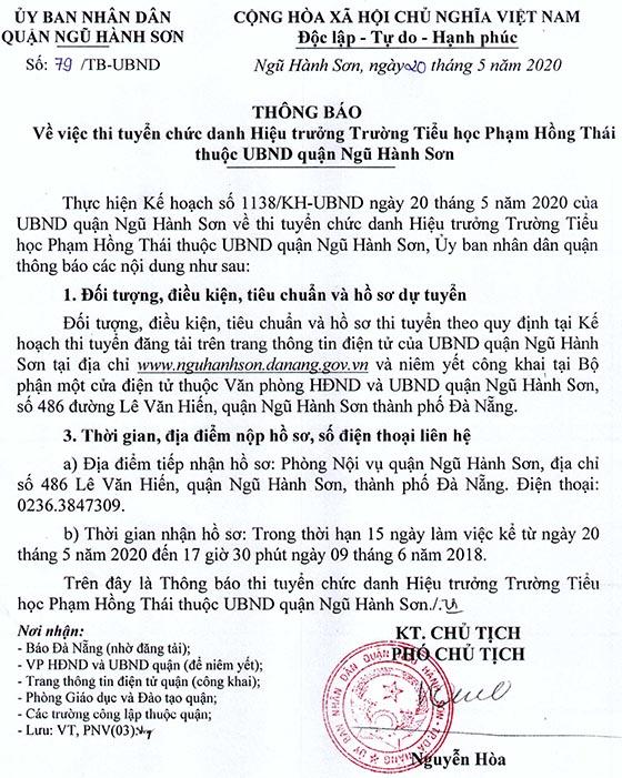 UBND quận Ngũ Hành Sơn, Đà Nẵng thi tuyển chức danh Hiệu trưởng năm 2020