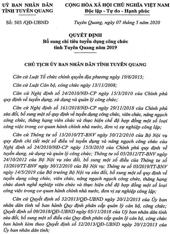 UBND tỉnh Tuyên Quang bổ sung chỉ tiêu tuyển dụng công chức năm 2019