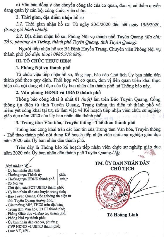 UBND TP.Tuyên Quang tiếp nhận giáo viên năm 2020
