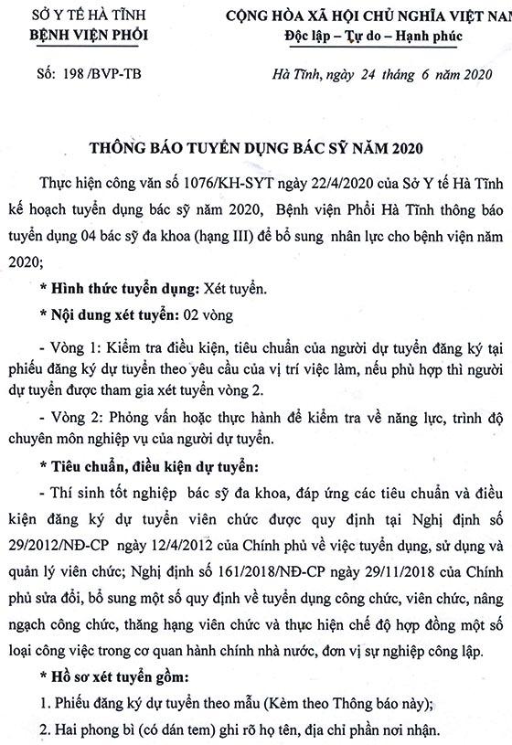 Bệnh viện Phổi Hà Tĩnh tuyển dụng bác sĩ năm 2020