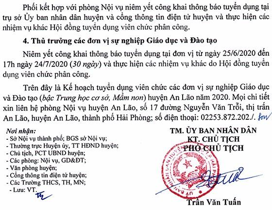 UBND huyện An Lão, TP.Hải Phòng tuyển dụng giáo viên năm 2020