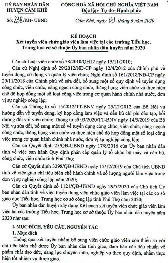 UBND huyện Cẩm Khê, Phú Thọ tuyển dụng giáo viên năm 2020