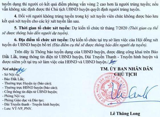 UBND huyện Ea H'Leo, Đắk Lắk tuyển dụng giáo viên năm 2020